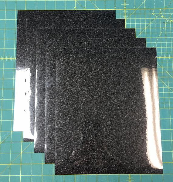 "Galaxy Black Siser Glitter Five (5) 10""x12"" Sheets of Iron-on Heat Transfer Vinyl Sheets"