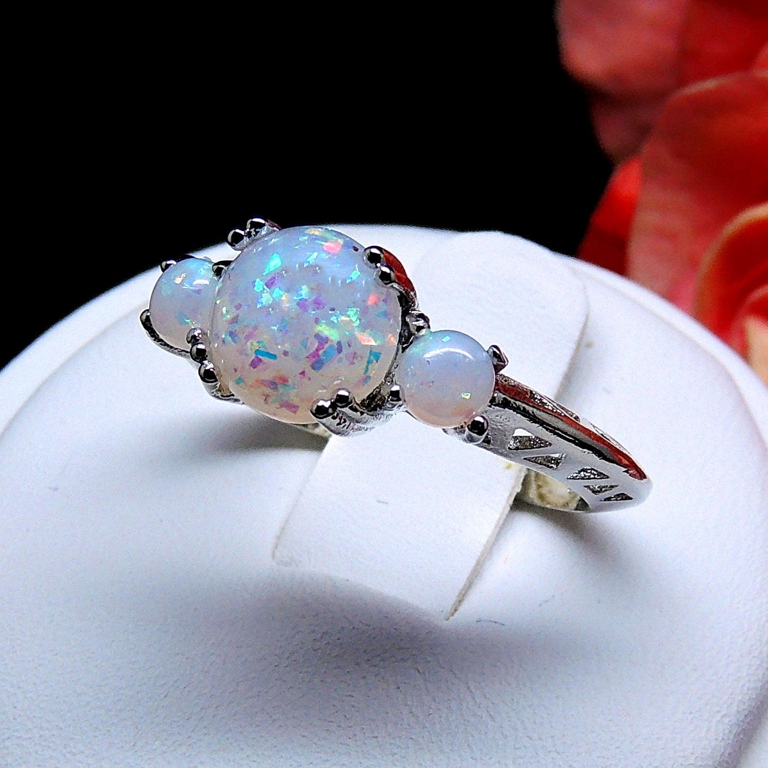 Fleur Statement Ring 3 Stone Fire Opal Engagement Womens Ginger Lyne