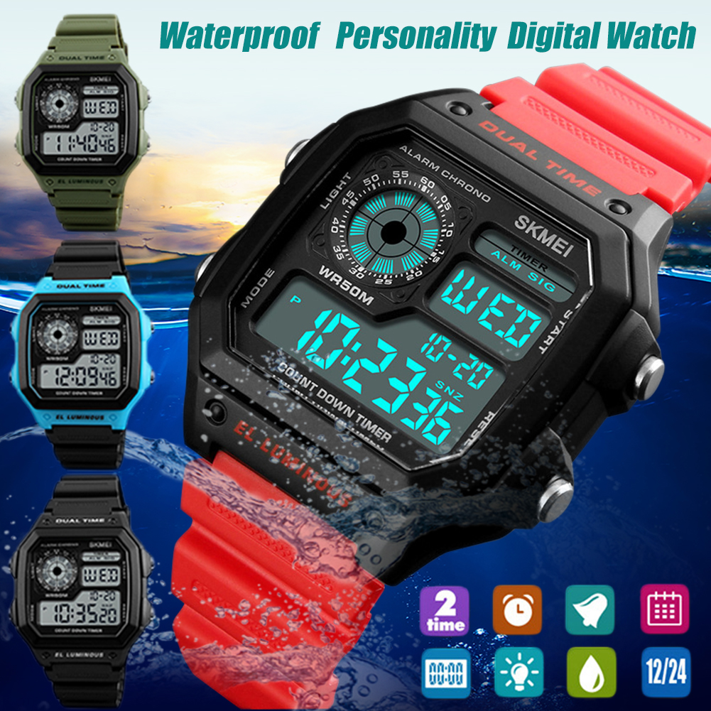SKMEI Fashionable Square Electronic Watch Personality Waterproof Digital Watch For Boys