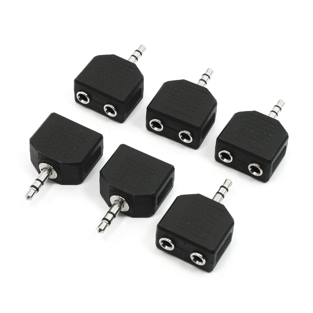 Unique Bargains 6 Pieces 3.5mm Stereo Audio Plug to 2 Port 3.5mm Jack Splitters Adapters