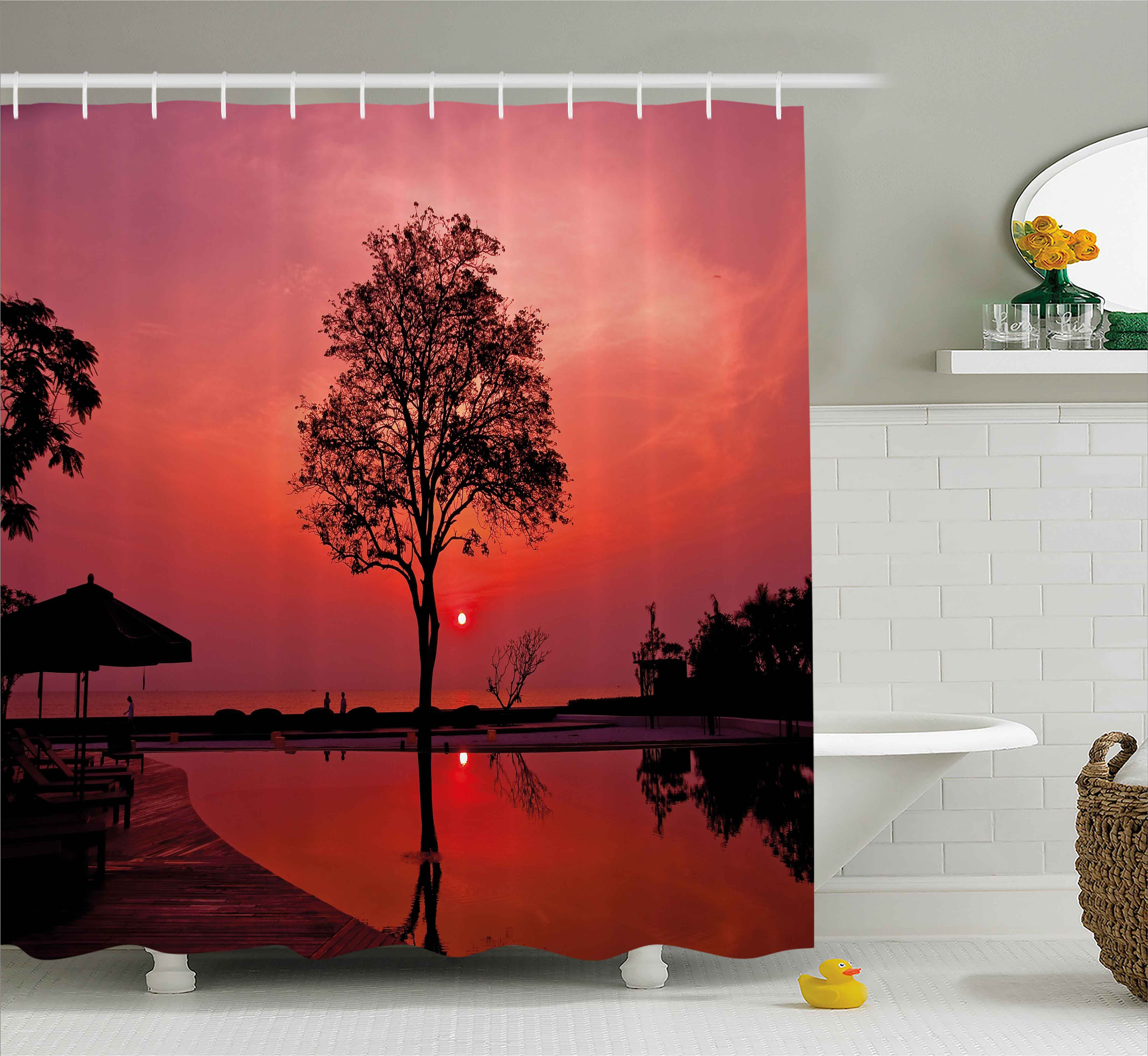 Sunrise Shower Curtain, Silhouette of Misty Twilight Sky with Tree and Nature Reflections Exotic Image, Fabric Bathroom Set with Hooks, 69W X 70L Inches, Black Ruby, by Ambesonne