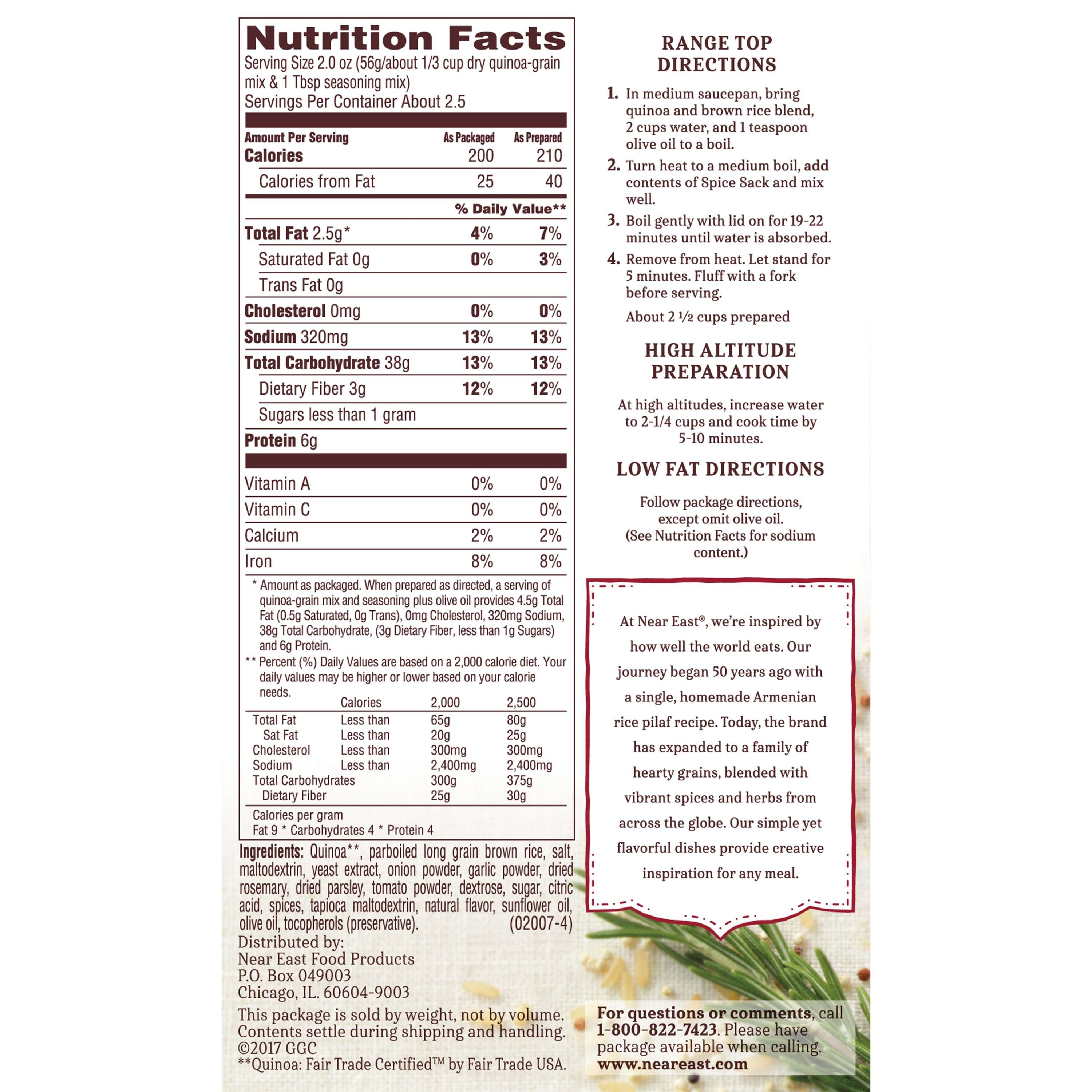 Near East Quinoa & Brown Rice Blend, Rosemary & Olive Oil, 4.9 oz ...