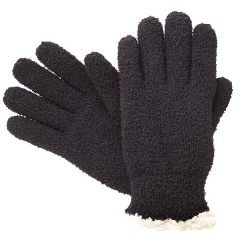 Sensations Isotoner Sherpa Knit Gloves, Black