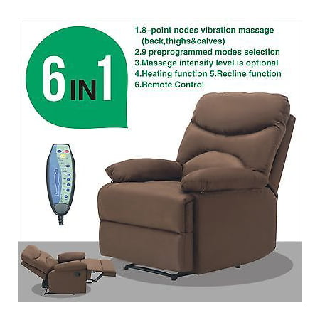 Microfiber Massage Recliner Sofa Chair Ergonomic Lounge Swivel Heated W Control