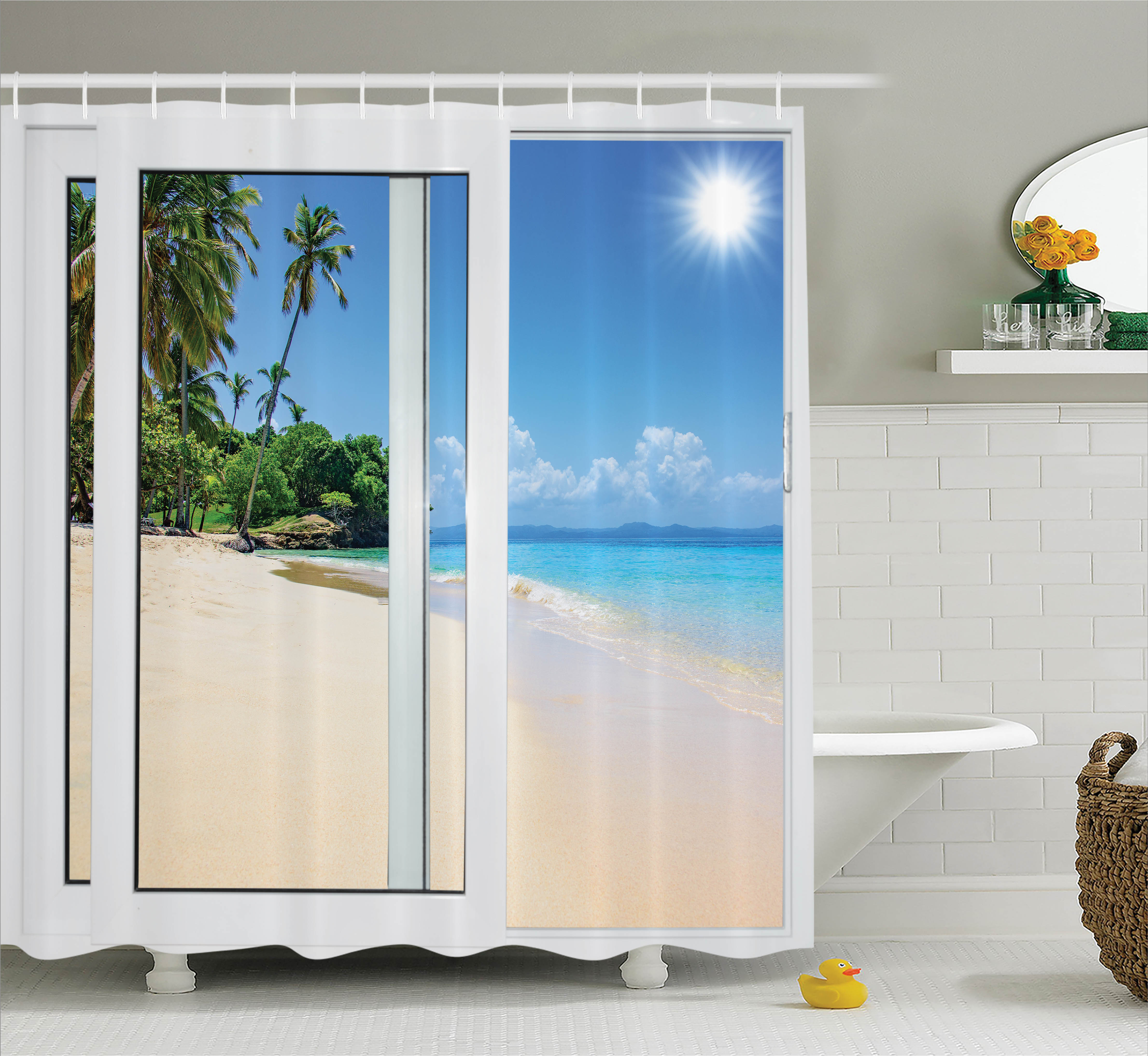 View from the Window of Tropical Island Beach Water Art Decor Shower Curtain Set