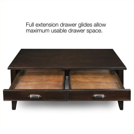 Bowery Hill Two Drawer Solid Wood Coffee Table in Chocolate Cherry - image 2 de 4