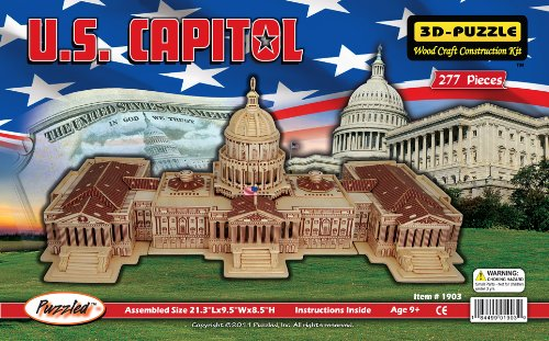 3D Natural Wood Puzzle U.S. Capitol Building, Piece count 145 By Puzzled by