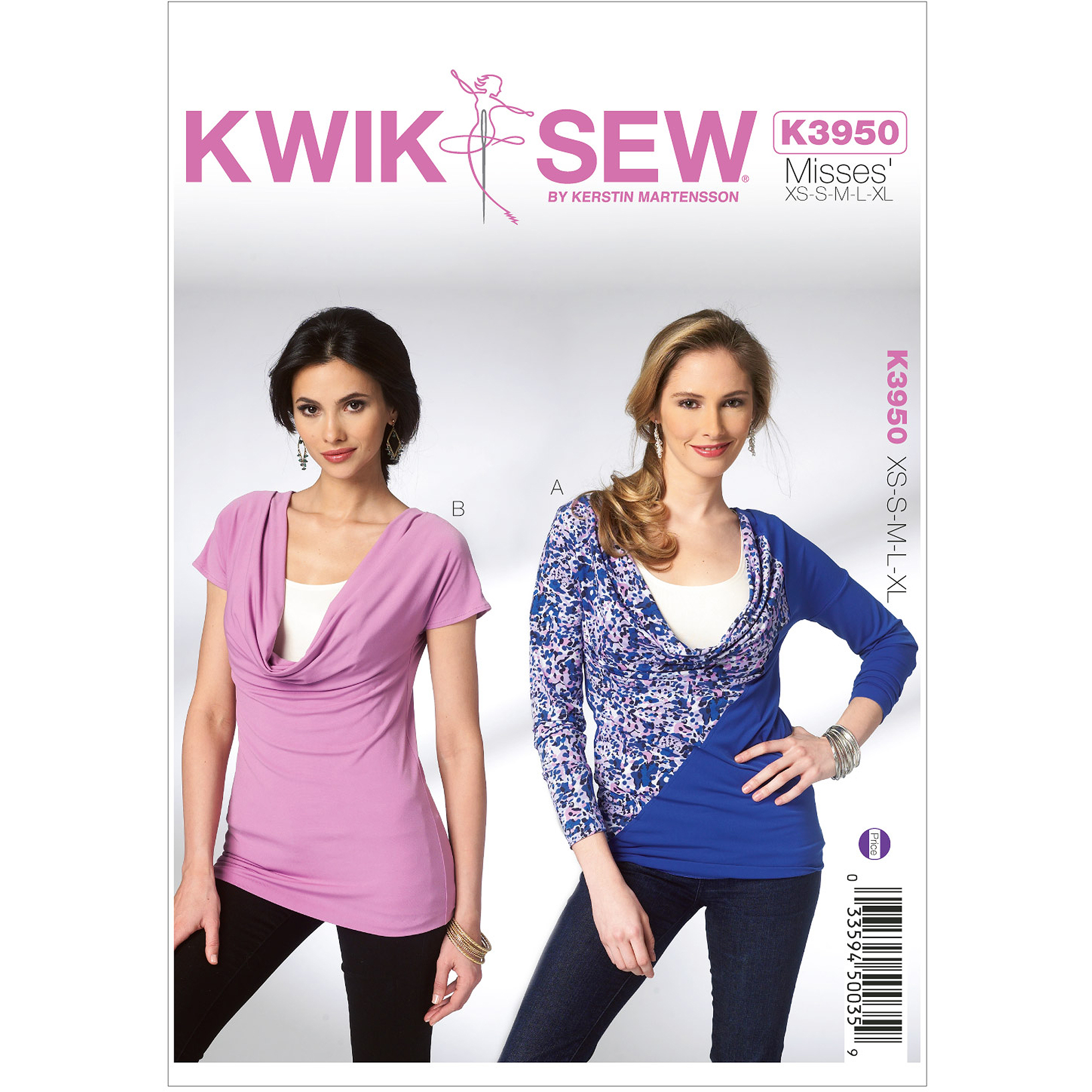 Kwik Sew Pattern Misses' Tops, (XS, S, M, L, XL)
