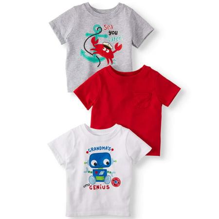 e0c47d945 Garanimals - Solid & Graphic T-Shirts, 3pc Multi-Pack (Baby Boys) -  Walmart.com
