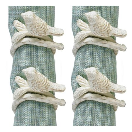 Songbird Bird Tree Branch White Painted Metal Napkin Rings Set of 4 Coral Branch Napkin Rings