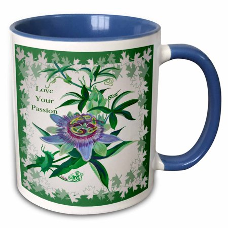 3dRose Passion Flower- gifts for gardeners, birthday, mothers day, gift ideas, wildflower, tennessee - Two Tone Blue Mug, 11-ounce