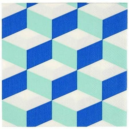 Meri Meri Cubic Blue And Mint Patterned Small Napkin