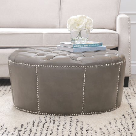 12 Round Leather - Devon & Claire Laguna Grey Leather Nailhead Trim Round Ottoman
