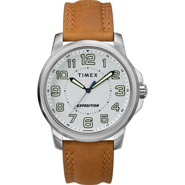 Timex TW4B16400JV Men's Expedition® Metal Field Watch - White Dial/brown Strap