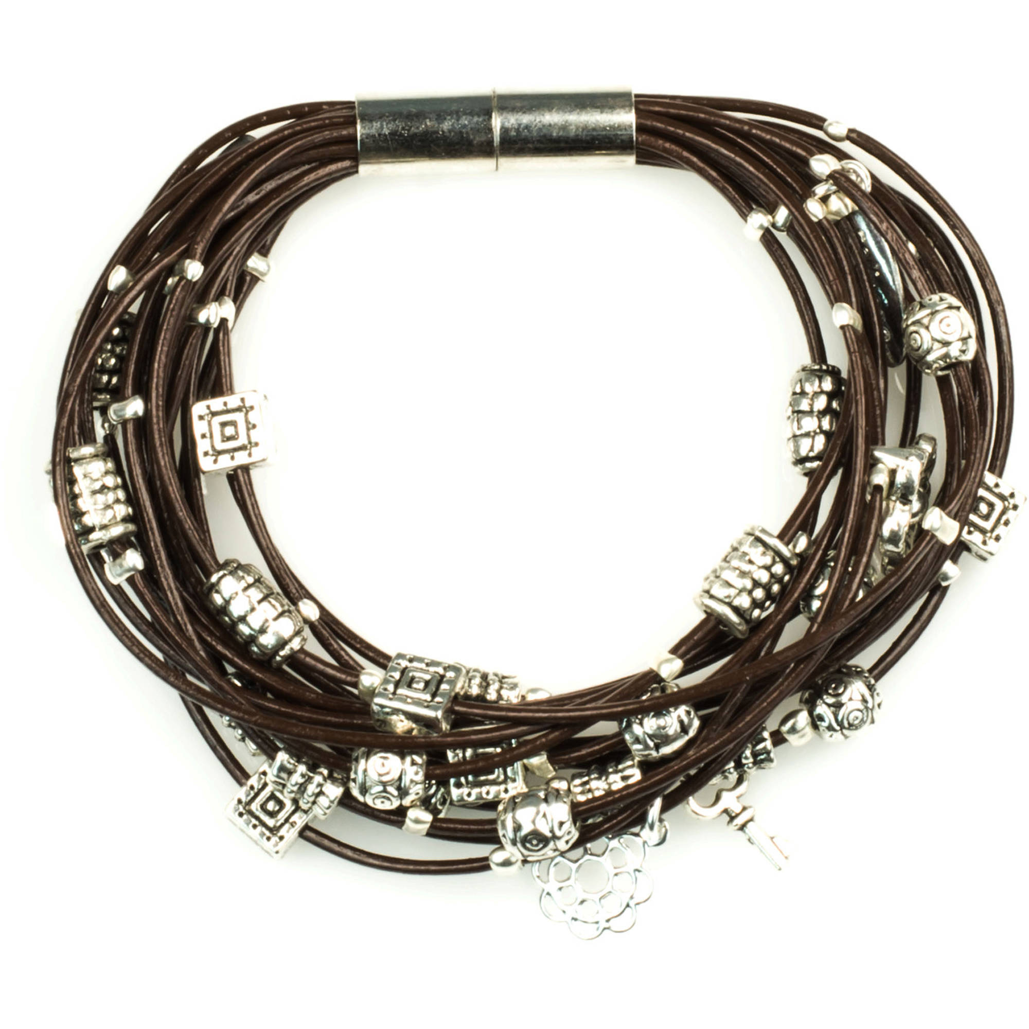 Miss Zoe by Calinana Multi Cord Leather Bracelet, Brown/Silver