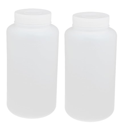 Unique Bargains 2pcs 1000ml PE Plastic Wide Mouth Sealed Liquid Storage Bottle Container White