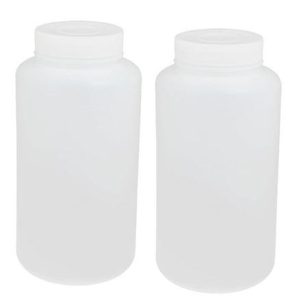 Unique Bargains 2pcs 1000ml PE Plastic Wide Mouth Sealed Liquid Storage Bottle Container