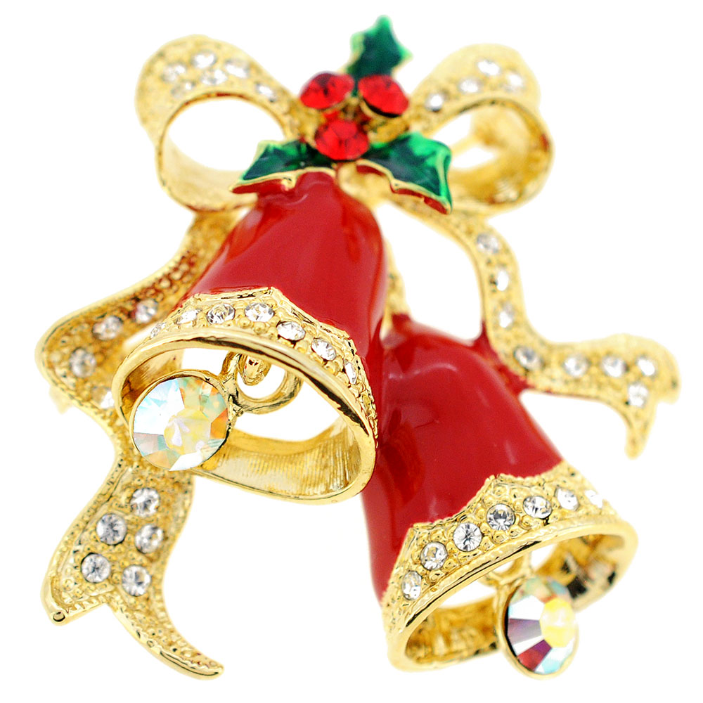 Red Christmas Bells Crystal Pin Brooch by