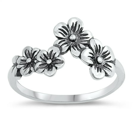 Oxidized Floral Daisy Girlfriend Flower Ring 925 Sterling Silver Band Size