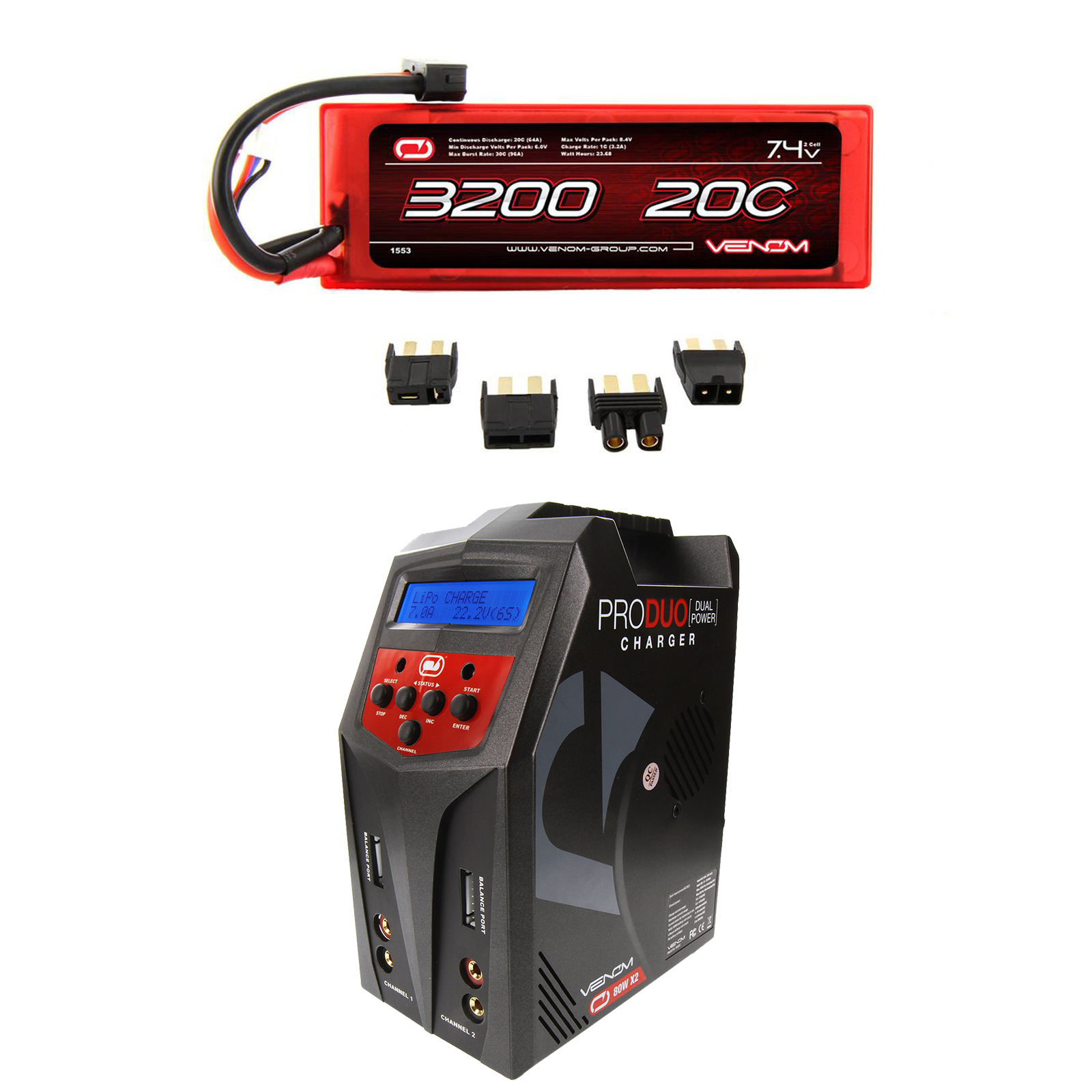 Venom 20C 2S 3200mAh 7.4 Hardcase LiPo Battery with Universal Plug and Venom Pro Duo 80W X2 Dual AC DC 7A LiPo... by Venom