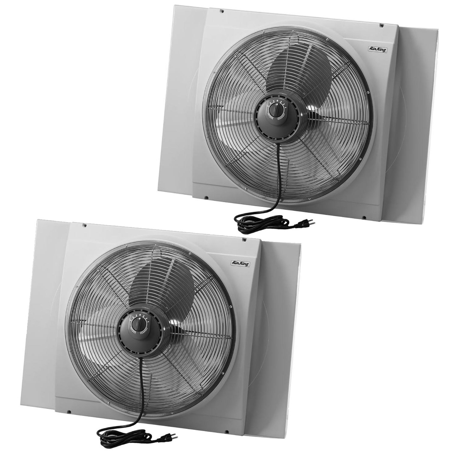 Air King 20 Inch Blades Whole House 120V 3 Speed Window Fan, Gray (2 Pack)