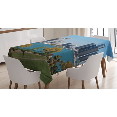 Detroit Decor Tablecloth, Industrial City Center Shoreline River Scenic Panoramic View Sunny Day, Rectangular Table Cover for Dining Room Kitchen, 60 X 90 Inches, Blue Green Silver, by Ambesonne (Center Table Decor)