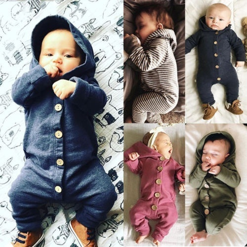 Newborn Baby Infant Boy Girl Romper Hooded Jumpsuit Bodysuit Outfits Clothes