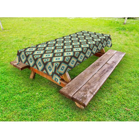 Southwestern Outdoor Tablecloth, Rhombus Shapes with Zigzag Details Native American Traditional Old Pattern, Decorative Washable Fabric Picnic Table Cloth, 58 X 84 Inches,Multicolor, by Ambesonne