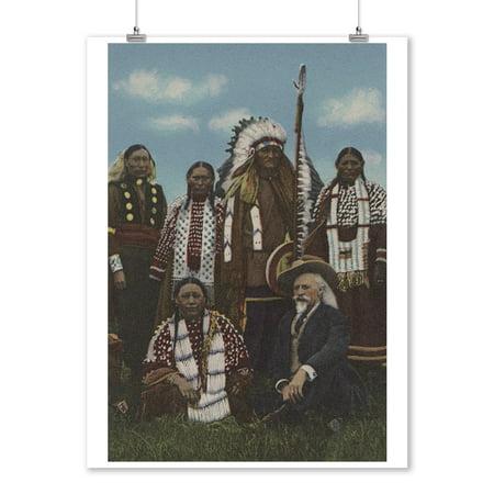 Northwest Indians - Buffalo Bill, Sitting Bull, and Lakota Natives (9x12 Art Print, Wall Decor Travel Poster)