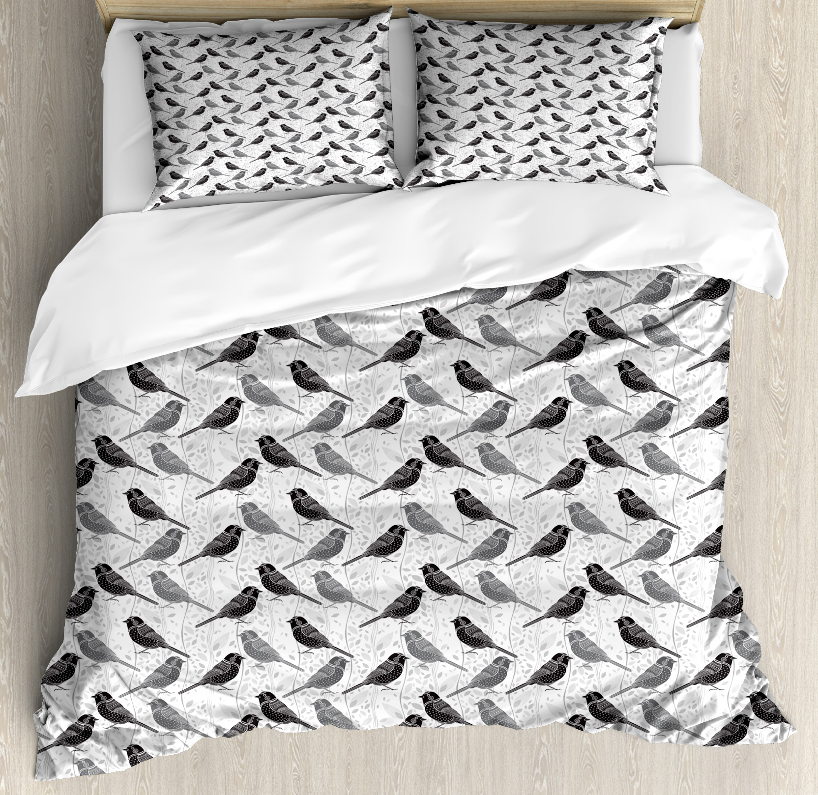 Birds King Size Duvet Cover Set, Silhouette of Damask Patterned Northern Mockingbirds on Fluctuating Leaves, Decorative 3 Piece Bedding Set with 2 Pillow Shams, Grey Black White, by Ambesonne