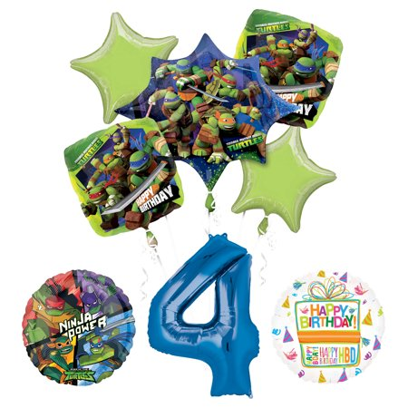 Teenage Mutant Ninja Turtles 4th Birthday Party Supplies and TMNT Balloon Bouquet Decorations](Ninja Turtles Birthday Decorations)