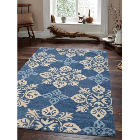 Rugsotic Carpets Hand Tufted Wool 5'x8' Area Rug Floral Blue K00661 Blue Floral Wool Rug