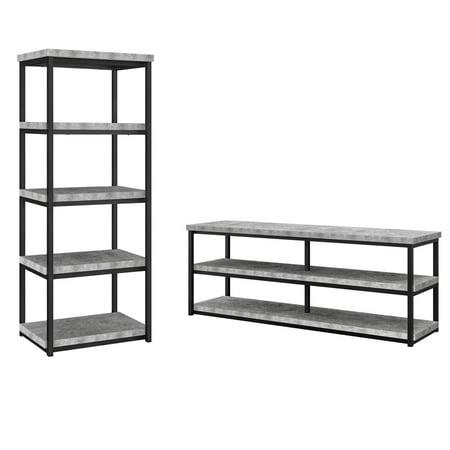 - Ameriwood Home Ashlar TV Stand with Ameriwood Home Ashlar 4 Shelf Bookcase