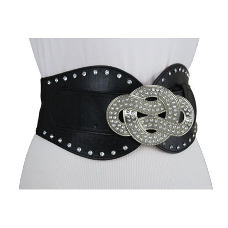 Black Wide Stretch Belt Waist Hip Silver Metal Bling Infinity Buckle New Women Fashion S M ()