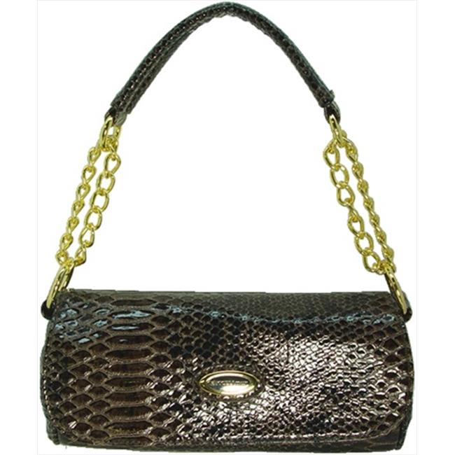 Vecceli Italy CL-114 SNKE BRN Snake Clutch Bag in Snake Brown with Strap Top