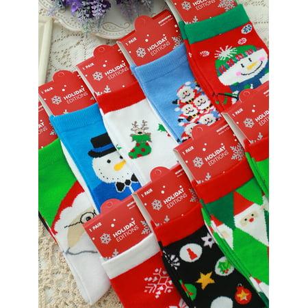 FLORATA Womens Comfortable Christmas Cotton Sock Slippers Short Stripe Print Ankle Socks 6 pair pack](Christmas Sock)