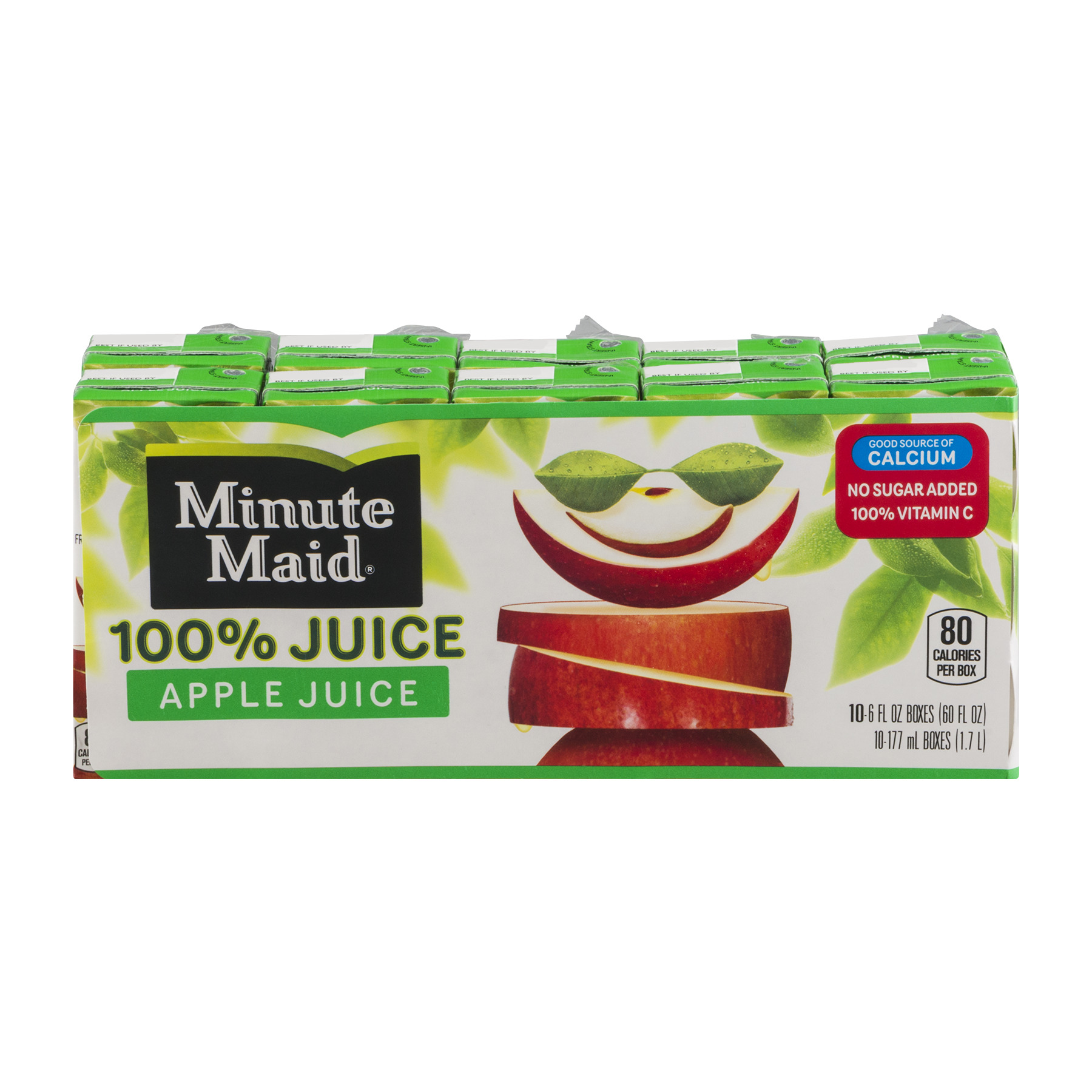 (4 Pack) Minute Maid 100% Juice, Apple, 6 Fl Oz, 10 Count
