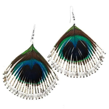 Peacock Feather Handbeaded Silver-tone Glass Beads Earrings