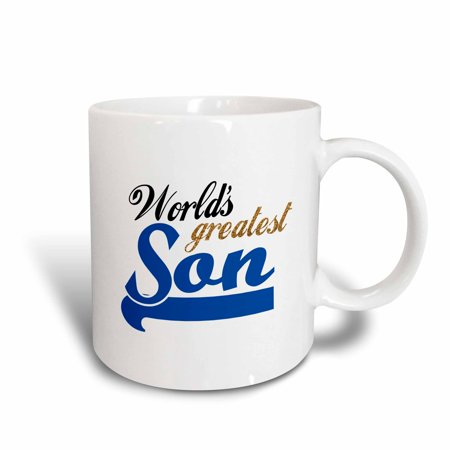 3dRose Worlds Greatest Son - Best son in the world - blue text on white in sporty font for your little boy, Ceramic Mug, 11-ounce