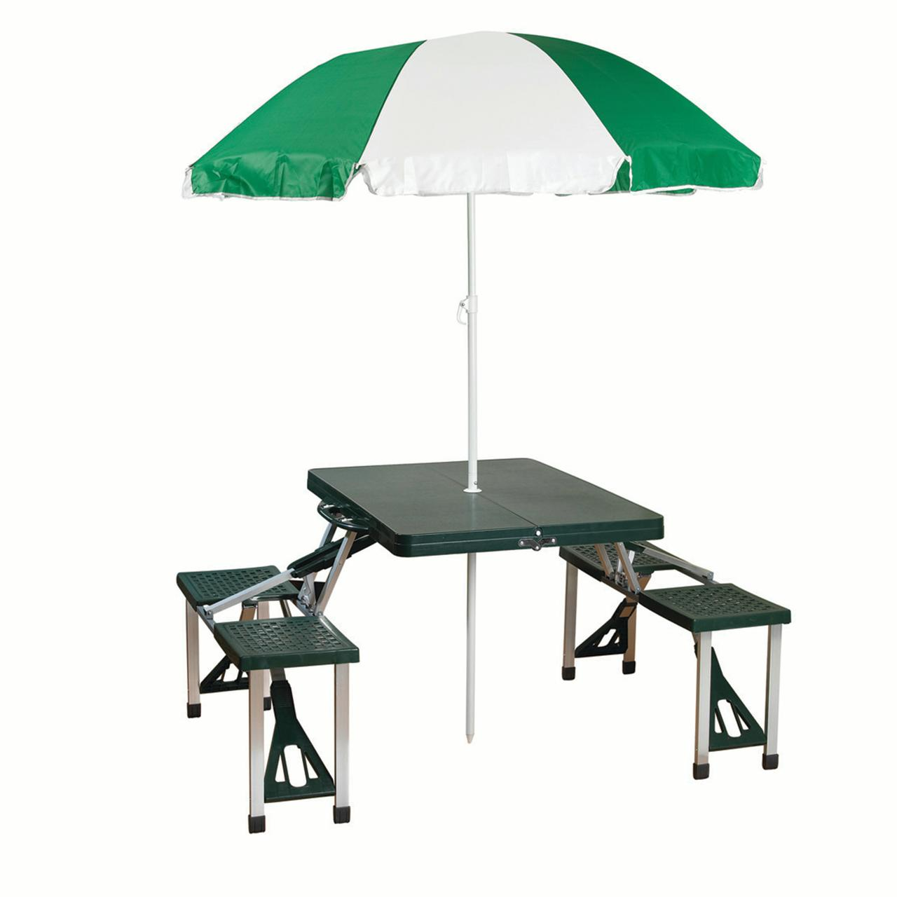 Stansport Camp Picnic Table And Umbrella Combo Pack