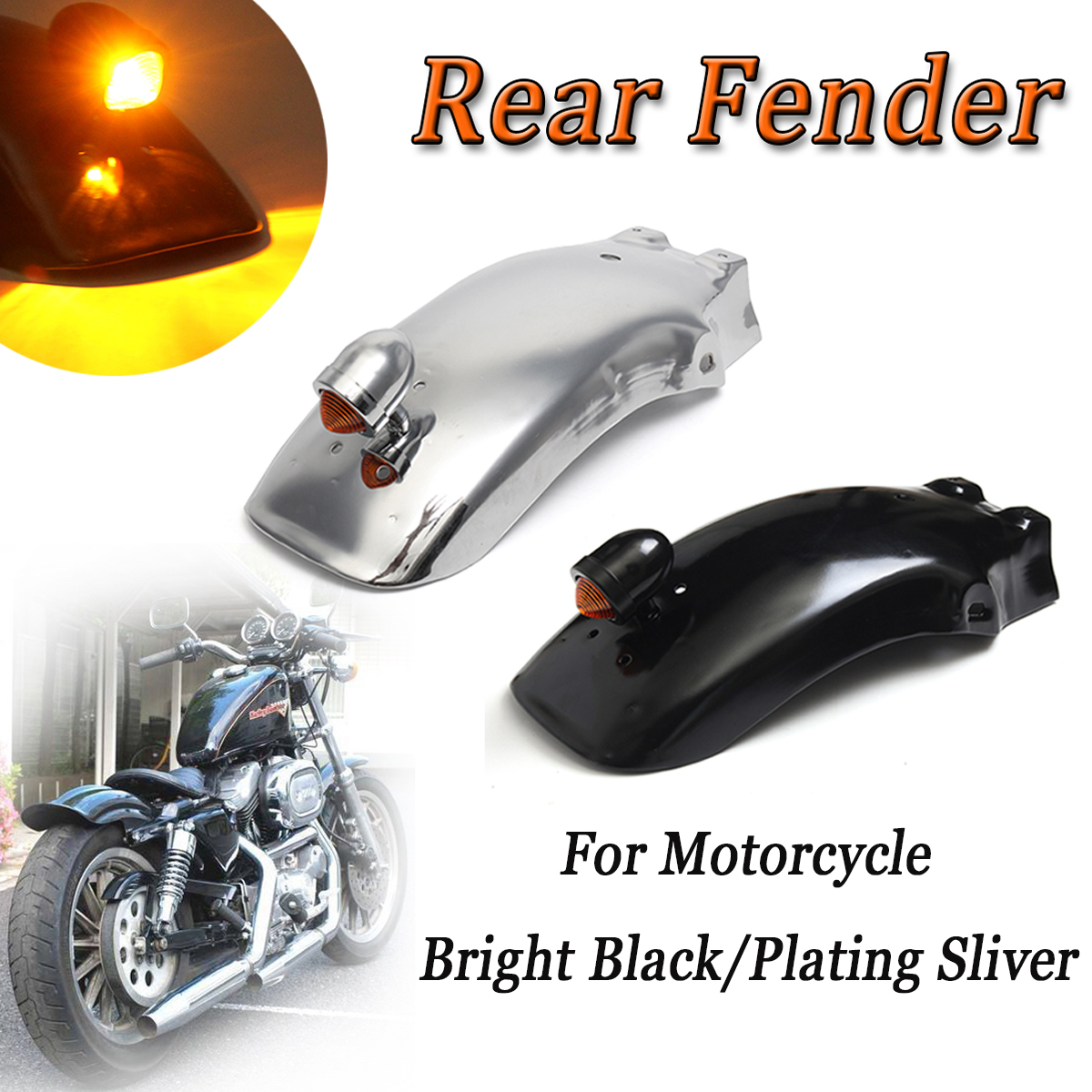 Universal Metal Motorcycle Rear Fender Splash Guard Mud Flap Mudguard Black/Sliver with Taillight