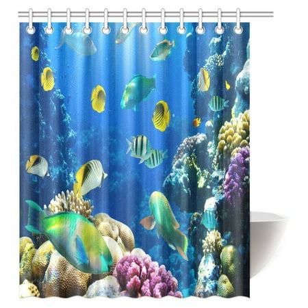 MYPOP Ocean Shower Curtain Decor Collection, Tropical and Exotic Coral Reefs Fish School Natural Life in a Shallow Underwater Wild Marine Seascape Shower Curtain Set, 60 X 72 Inches