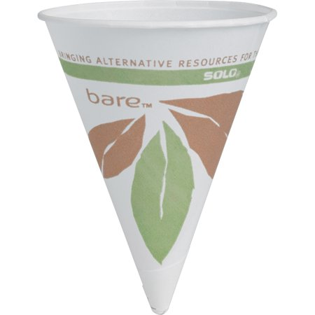 Dart Bare Eco-Forward Paper Cone Water Cups, 4oz, White, 200/Pack, 25 Packs/Carton -SCC4BRBB - Construction Cone Cups