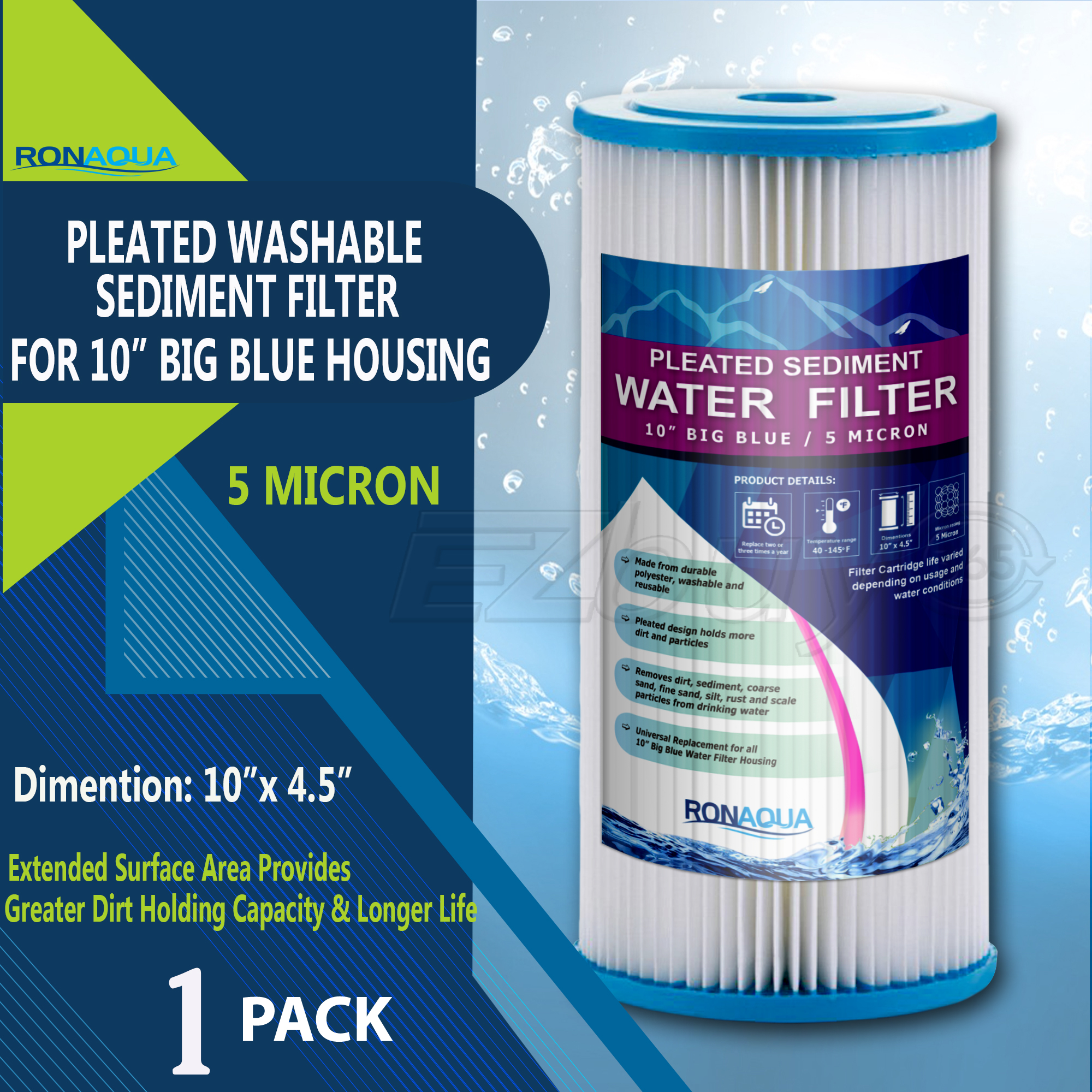 "Big Blue Pleated Washable & Reusable Sediment Filter 5 Micron Amplified Surface Area, Removes Sand, Dirt, Silt, Rust, Extended Filter Life for 10"" Big Blue Housing, by Ronaqua"