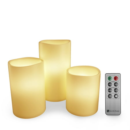 Flameless LED Candles, Remote Controlled 3-Piece Candle Set by Lavish Home – For Votive Holders – Home, Wedding, Bridal Shower, Christmas Decor