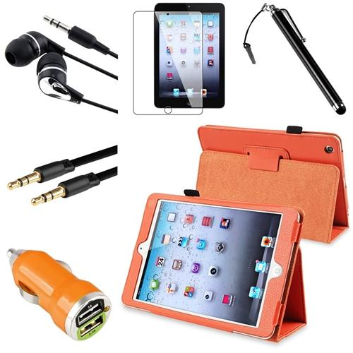 INSTEN Orange Leather Case Stand Cover Pouch+HS+Pen For Apple iPad mini 3 / 1 / 2 with Retina Display