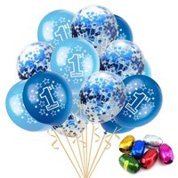AkoaDa 15PCS 1st Birthday Balloon 12 Inches Latex Number Balloons For Boys Baby Girls Baby First Birthday Celebration Kids Party Decor