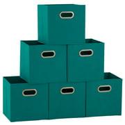 Household Essentials Open Fabric Storage Cube Bins, Aqua, Set of 6