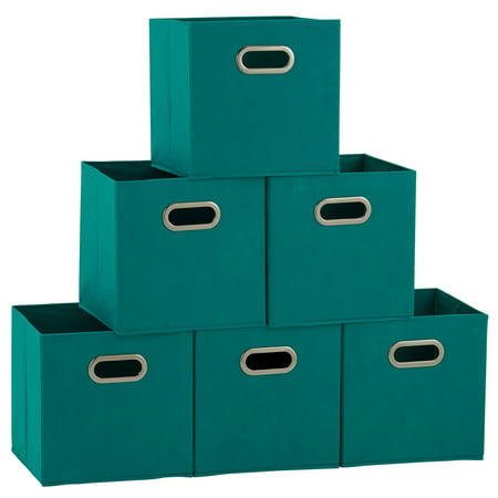 Household Essentials Open Fabric Storage Cube Bins, Set of 6, - Cute Storage Boxes