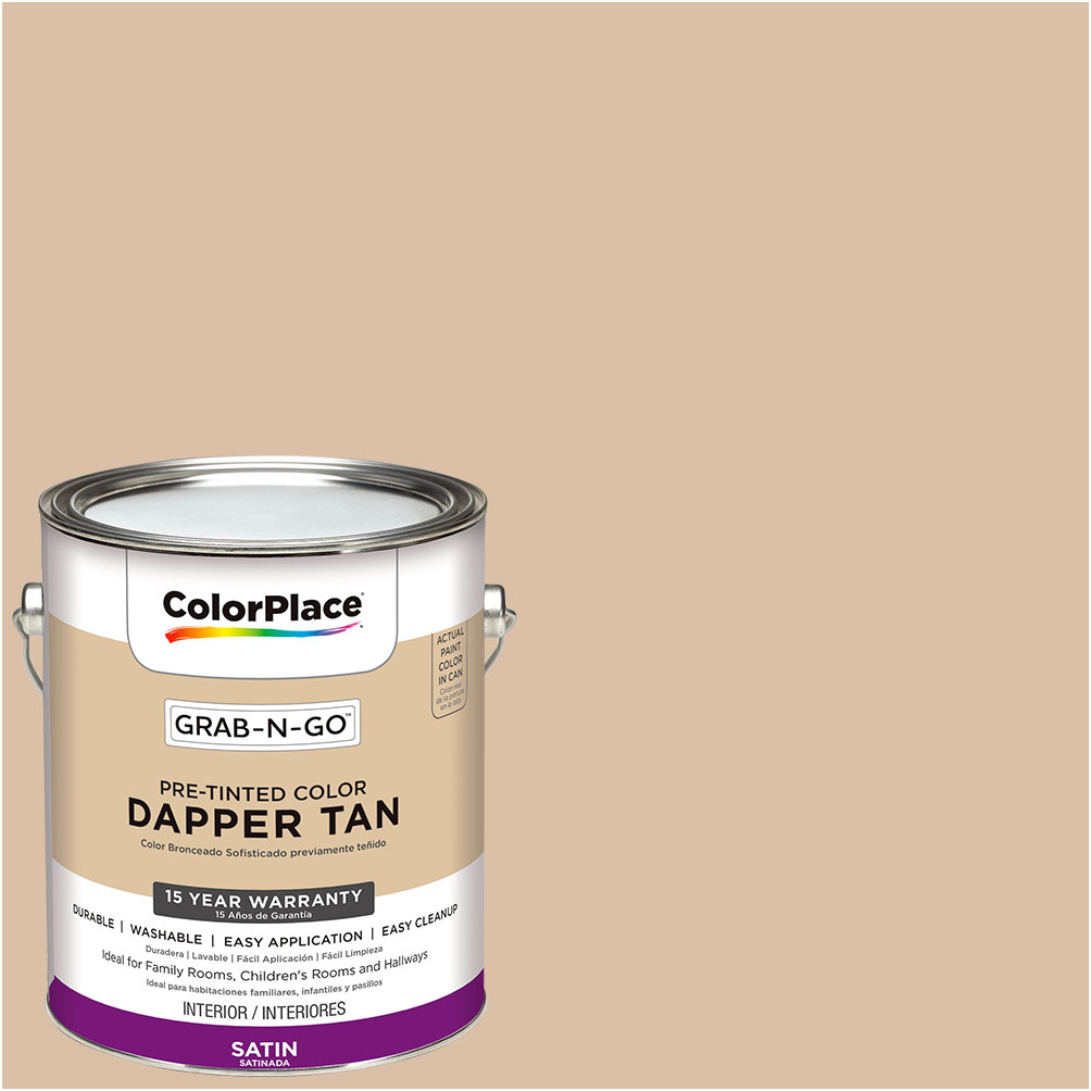 ColorPlace Grab-N-Go, Interior Paint, Satin Finish, Dapper Tan, 1 Gallon
